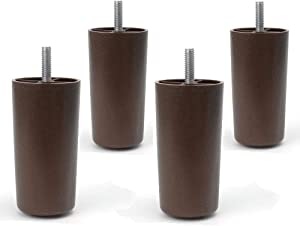 """Elegent Upholstery 4"""" Round HDPE Plastic Brown Tapered Sofa Furniture Legs [5/16"""" Bolt] - Set of 4"""