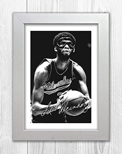 Engravia Digital Kareem Abdul-Jabbar - Milwawkee - NBA 1 SP - Signed Autograph Reproduction Photo A4 Print (White -