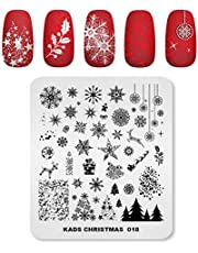 KADS Kerst Stempel Plaat Afbeelding Sjabloon Nagel Art Decoratie Ontwerp Tool Stencil Kerstboom Sneeuwvlok