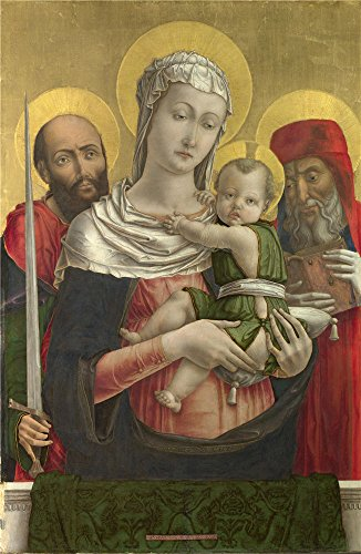 Ram Bedside Rails (Oil Painting 'Bartolomeo Vivarini - The Virgin, Child With Saints Paul, Jerome,about 1460s', 30 x 46 inch / 76 x 117 cm , on High Definition HD canvas prints, Foyer, Game Room, Home Theater Decoration)