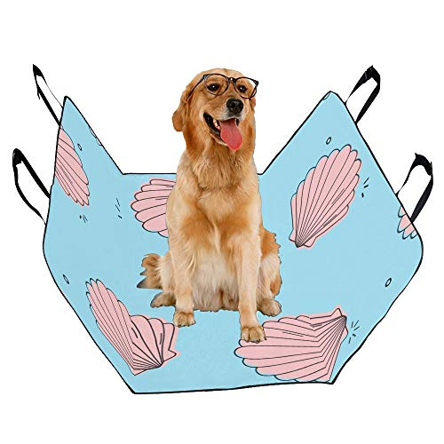 JTMOVING Fashion Oxford Pet Car Seat Seashells Starfish and Coral Underwater Life Summer Seaside Waterproof Nonslip Canine Pet Dog Bed Hammock Convertible for Cars Trucks SUV