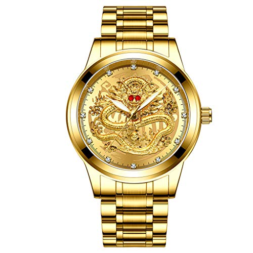 Sodoop Wrist Watches for Mens 30M Waterproof Luxury Golden Analog Quartz China Diamond Dragon Face Pattern Dial Watch, with Stainless Steel Strap Wristwatch (C)