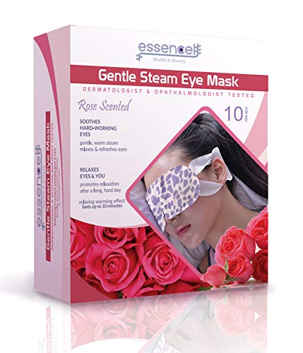 (Heated Sleeping Eye Mask for Tired, Dry Puffy Eyes, Dark Circles, Disposable Travel Eye Mask for Spa, Stye treatment, Rose Scented Heating Eye Mask)