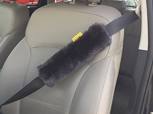 Authentic Sheepskin Car Seat Belt Cover Shoulder Seatbelt Pad for Adults Youth Kids Toddlers - Auto, Truck, SUV, Airplane Accessories - Genuine Natural Soft Merino Wool (Grey, 1)