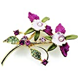 Pearl Multicolor Orchid Swarovski Crystal Flower Pin Brooch
