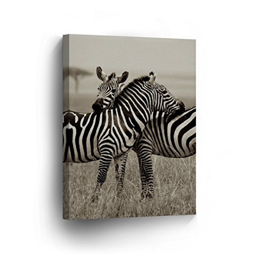 Zebra Photo - Zebra Friendship Love Photo Picture Canvas Print Safari African Decor Black and White Wall Art Living Room Home Decor Artwork - Ready to Hang - 12x8 inches