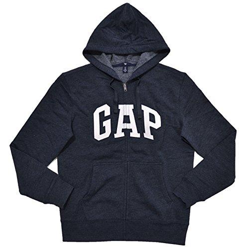Gap Mens Fleece Arch Logo Full Zip Hoodie  L  Heather Navy