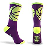 Basketball Sock by ChalkTalk SPORTS | Athletic Mid Calf Woven Socks | Basketball Wrap | Purple and Neon Yellow