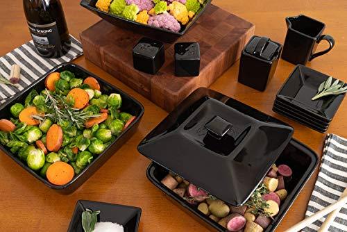 10 Strawberry Street Nova Square Accessory Set, 15 PIECE, Black Salted Salad