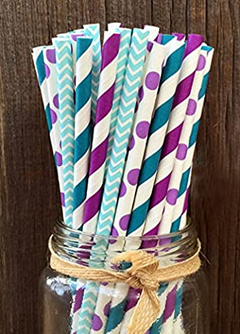 Charmed Mermaid theme Purple, blue and teal paper straw in polka dot, chevron, and stripe design 100 (Frozen Theme Food)