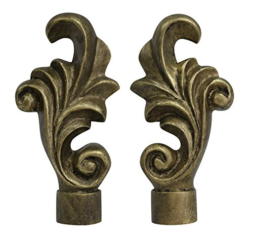 Urbanest Set of 2 Loire Lamp Finial, 3-inch Tall, Antique Gold ()