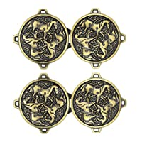 Bezelry 3 Pairs Celtic Horses Cape or Cloak Clasp Fasteners. 62mm x 35mm Fastened. Sew On Hooks and Eyes Cardigan Clip