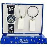 Relda Boys Skull & Crossbones Watch, Dog Tag Necklace & Keyring Gift Set REL50