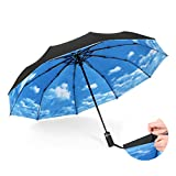 Guoke Dual Full-Automatic Umbrella Fold Oversized Stars Reinforced With Two Fine Rain, White Clouds In The Blue Sky -