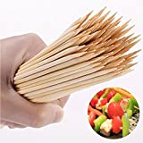 PANMLY Premium Natural BBQ Bamboo Skewers Making plant labels, cake decoration labels, Grill, Appetizer, Fruit, Corn, Chocolate Fountain, Cocktail and More Food, size 8''(200 PCS)