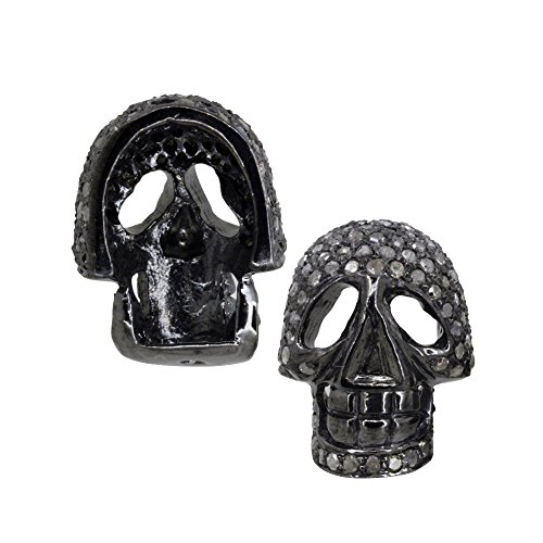 Natural Diamond Pave Skull Spacer Finding 925 Sterling Silver Vintage Jewelry Wholesale by Jaipur Handmade Jewelry