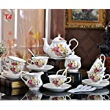 22 Piece European High Quality Tea Set Cup Teapot Saucer Porcelain Coffee Mug