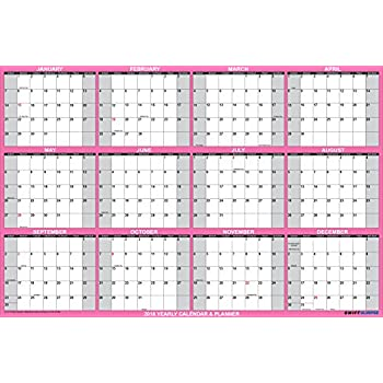 """SwiftGlimpse Wall Calendar 2018, Yearly, 24 x 36"""", Horizontal, 12 Months Laminated Erasable - Hot Magenta Breast Cancer Awareness Edition w/ Free Erasable Marker"""