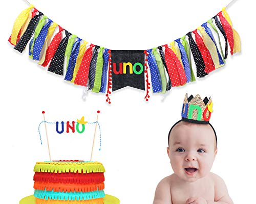 Uno Party Decorations For 1st Birthday - The Party Surprise Include Uno Hat,Uno Banner,Uno Cake Topper - Uno Birthday Decorations For Photo Booth Props - Best Uno Party Supplies For Baby]()