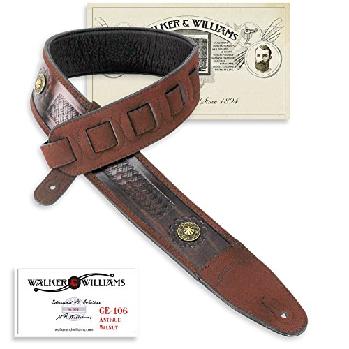 Glove Walnut Leather - Walker & Williams GE-106 Antique Walnut Tooled Padded Strap with Brass Conchos