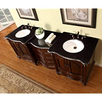 83 Double Sink Bathroom Vanity Modular 2 Piece Cabinet Furniture With Black Galaxy