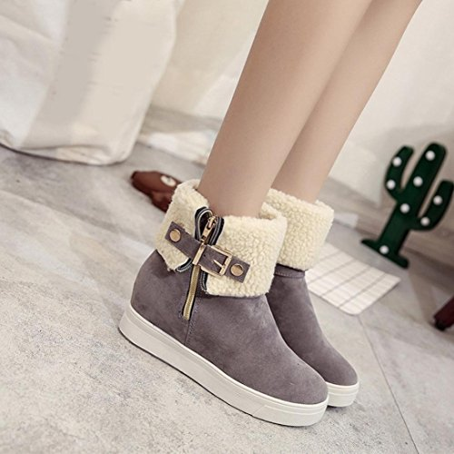 Clode® Womens Boots, Womens Chunky Sole Boots Collar Fur Lined Winter Warm Ladies Ankle Mid Calf Snow Boot Gray