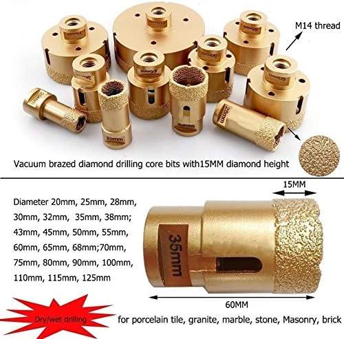 SHENYUAN 1pc Vacuum Brazed M14 Dry Diamond Drilling Core bits porcelain diamond drill bit tile Hole Saw crown stone bit drill (Size : 65mm)