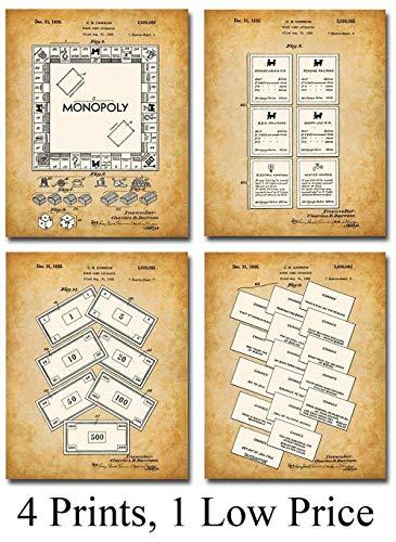 Original Monopoly Set Patent Prints - Set of Four Photos (8x10) Unframed - Great Lounge Decor Under $20