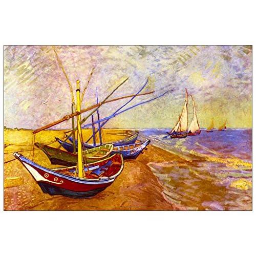 ArtPlaza Van Gogh Vincent - Boats of Saintes-Maries Panneau Décoratif, Bois, Multicolore, 90 x 1.8 x 60 cmAS90588