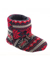 Slumberzzz Boys Fair Isle Pattern Slipper Boots
