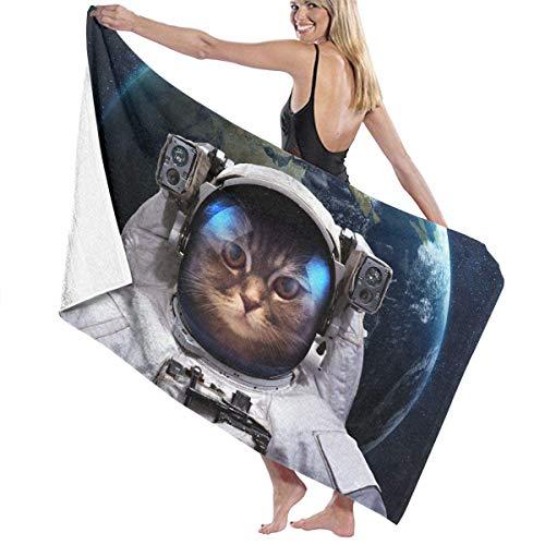 Women Cat Astronaut Beach Towels Washcloths Bath Towels for Teen Girls Adults Travel Towel Pool Gym 31x51 Inches Ladies Body Wrap -