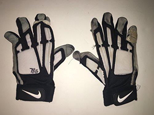 Jeremey Parnell #78 Game Worn Nike 4XL Dallas Cowboys Black/White Leather Lineman Football Gloves USED (The Cowboy House COA)