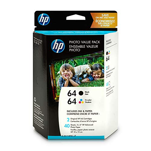 HP 64 Black & Tri-color Ink, 2 Cartridges, and 40 Sheets Photo Paper (N9J90AN, N9J89AN) for HP ENVY Photo 6252 6255 6258 7155 7158 7164 7855 7858 7864 HP ENVY ()