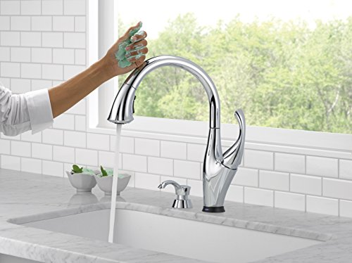 Delta Faucet 9192T-SD-DST Addison Single Handle Pull-Down Kitchen Faucet with Touch2O Technology and Soap Dispenser, Chrome by DELTA FAUCET (Image #1)