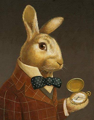 Rabbit Print, Rabbit Portrait, Rabbit Art, Animal Portrait, Victorian Rabbit, White Rabbit, Bunny, Easter Rabbit, March Hare, Alice in Wonderland, Rabbit Lover Gift