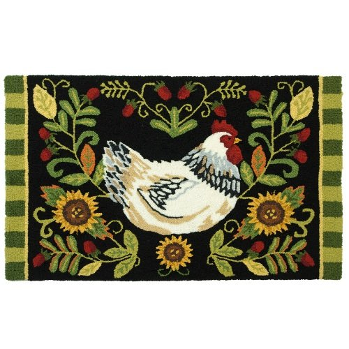 Homefires Accents White Leghorn Indoor Rug, 22-Inch by 34-Inch