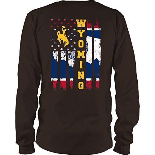 FanPrint Wyoming Cowboys T-Shirt - State Flag Pride - Longsleeve Tee/Brown / 2XL