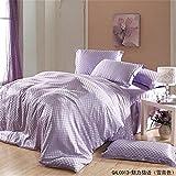 Newrara Luxury Solid Satin Silk Duvet Cover Set Striped Plaid Pillow Case Flat Sheet Silk Bed Sheet Set Queen/king (Queen, Purple)