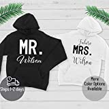 Mr and Mrs Hoodie - Custom Couple Hoodie - Add Your Name on Hoodie - Custom Couple Sweatshirt