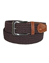 CTM® Men's Big & Tall Elastic Braided Belt with Silver Buckle and Tan Tabs, 3XL