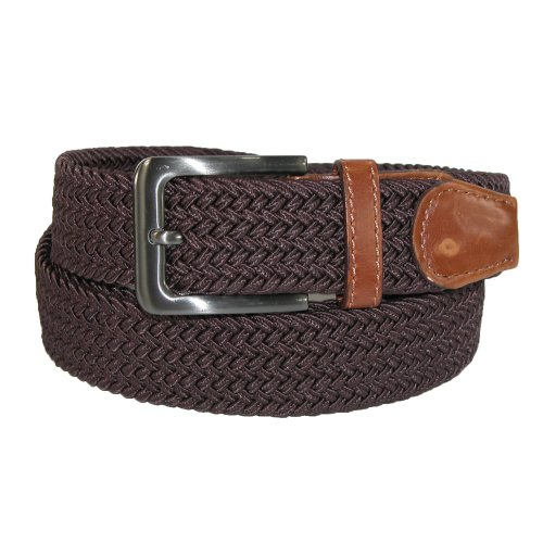 CTM® Mens Big & Tall Elastic Braided Belt with Silver Buckle and Tan Tabs, 3XL, Brown - Buckle Tab
