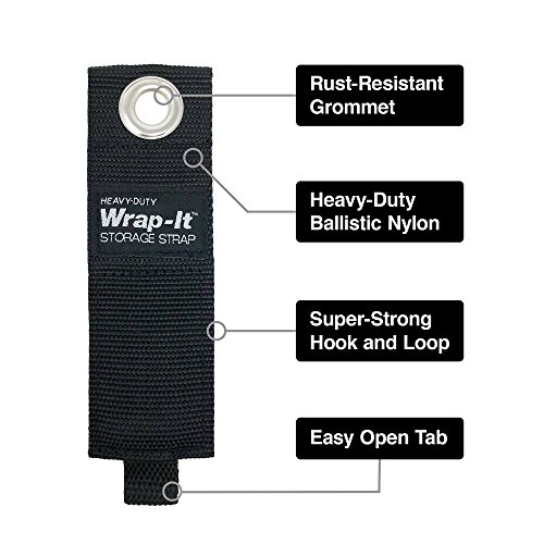 Wrap-It Heavy-Duty Storage Straps (10 Pack 2S/2M/3L/3XL - Black) - Hook and Loop Organizer Hanger for Extension Cords, Cables, Rope and More for Garage, Home, Boat, RV, and Camping Organization by Heavy-Duty Wrap-It Storage Strap (Image #2)