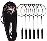 Sportime Tempered Steel Badminton Racquets and Carrying Bag - Set of 3 Pairs - Assorted Colors