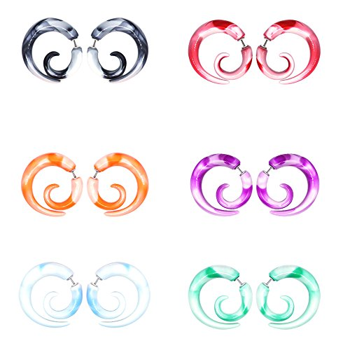 - CrazyPiercing 12Pcs Fake Tapers Acrylic Ear Gauge Spiral Earrings Studs Stretcher Piercing Taper 20G