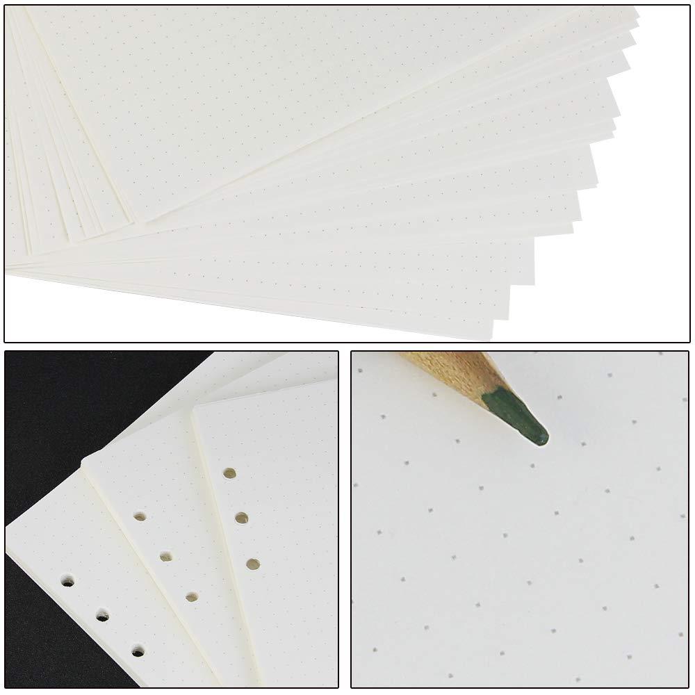 Kbnian Planner Refills Paper 135 fogli A5 6 fori Inserti Dot Grid carta da lettere 8.26x5.59 pollici Binder Notebook Filler Paper per Diario Filofax Diario