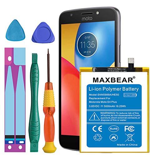 Motorola E4 Plus Battery, MAXBEAR 5000mAh Li-Polymer Replacement HE50 Battery for Motorola Moto E4 Plus XT1770 XT1774 XT1775 XT1776 SNN5989A with Repair Screwdriver Kit Tools [12 Month Warranty]