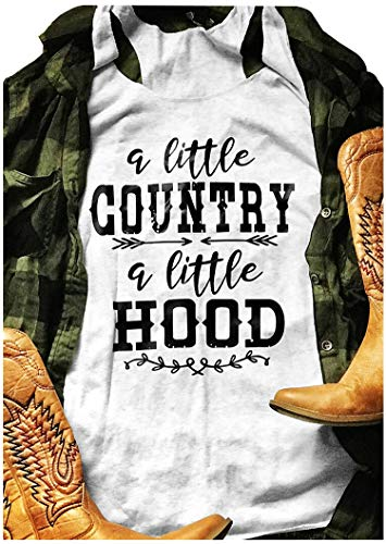 - A Little Country A Little Hood Summer Sleeveless Hood Tees Novelty Graphic Vest Tee Tops Loose Fit Size XL (White)