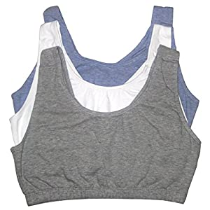 Fruit of the Loom Women's Built-up Sports Bra 3 Pack, Grey Heather/White/Blue Heather, 48