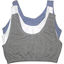 Fruit of the Loom Women's Built-Up Sports Bra, Grey White/Blue Heather-3 Pack