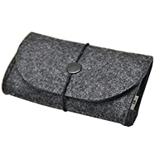 Litop® 5.5*3.3*1.6 Inches Carrying Felt Sleeve Case Bag Travel Organizer for Computer Electronics Cell Phone Accessories Essentials MP3 MP4 Logitech Apple Magic Mouse Charger Adapter Cord Connector Cable Memory Card Cellphone USB Flash Drive (Felt Bag-Dark Grey)